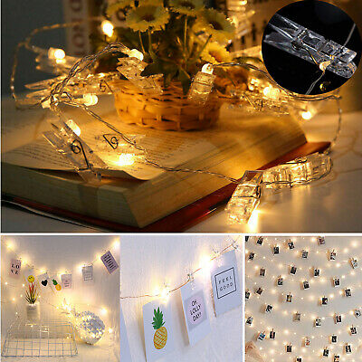 20//50//100 LED Foto Clip Lichterkette Außen Batterie//USB Photo String Leuchte DE