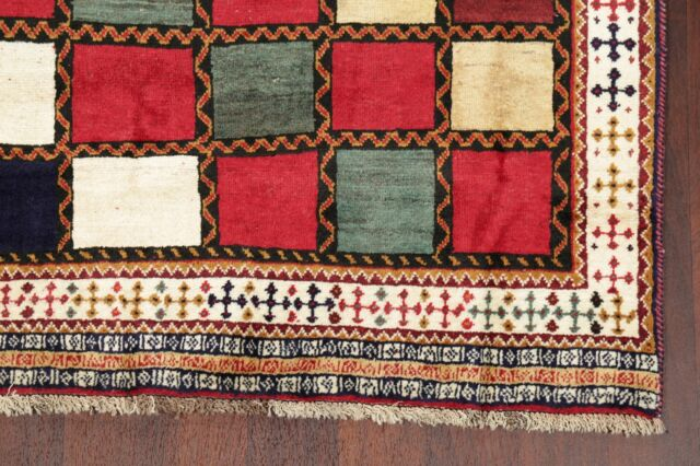 Vintage Color-full Checkered Gabbeh Area Rug Wool Hand-Knotted Modern Carpet 4x7