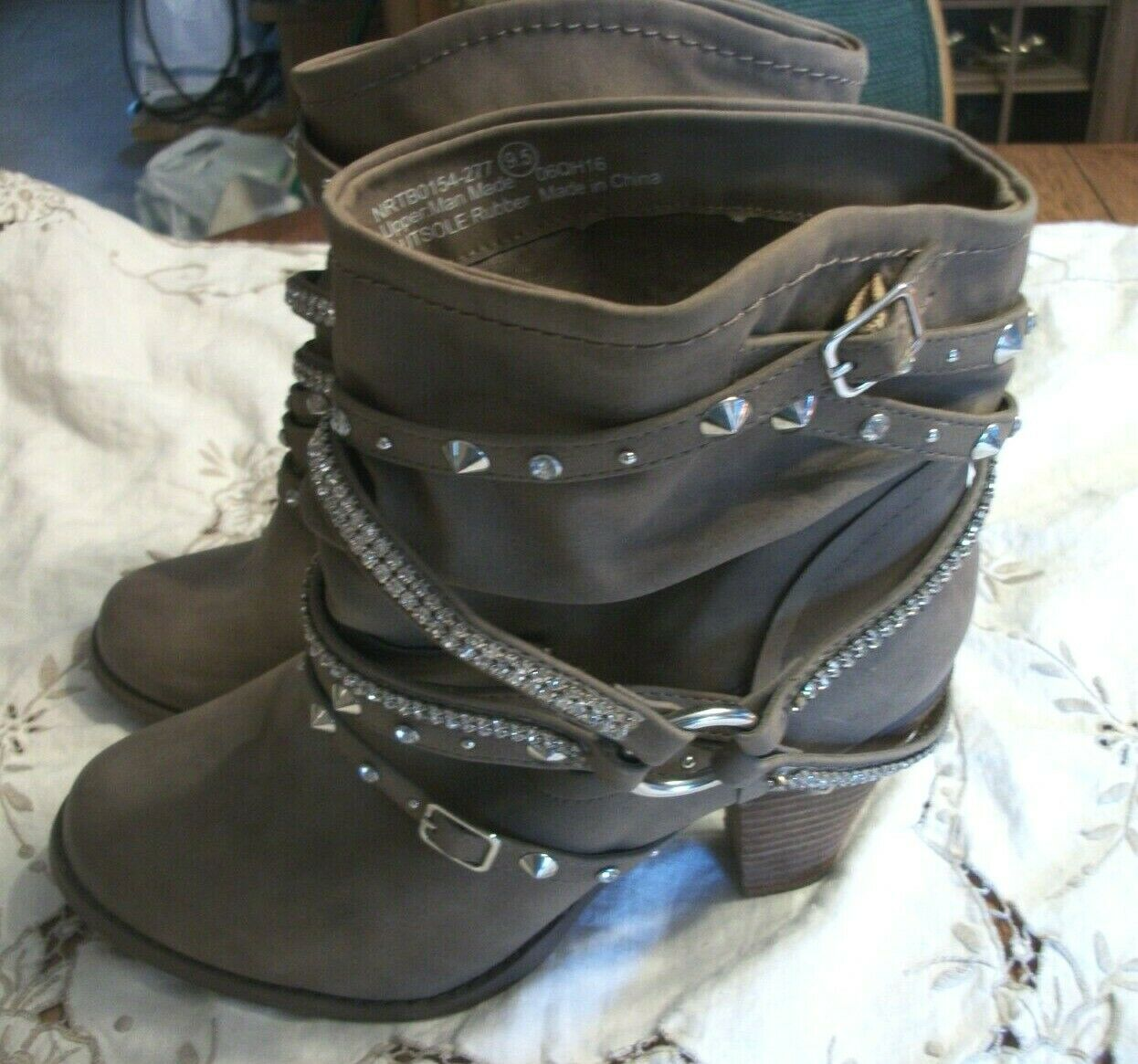 Not Rated Taupe Size 91 2 Dress Boots with Rhinestones and Stud Design