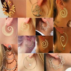 Boho-Women-Jewelry-Holiday-Gypsy-Tribal-Ethnic-Mandala-Hollow-Hoop-Earrings-Gift