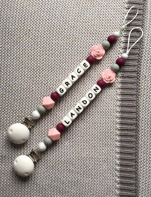 Pacifier Clip Soother Clip Silicone Clip Personalised Dummy Clip Pink