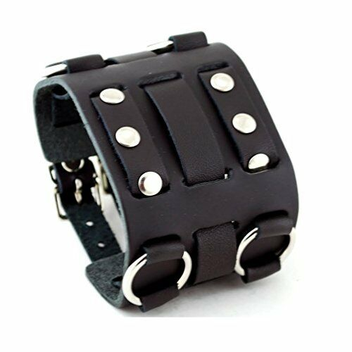 Watch Bands Wide Black Leather Tri Clasp Cuff Wrist Rock Bracelet Cool By Gift Ebay