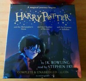 HARRY-POTTER-AUDIO-BOOKS-1-3-J-K-ROWLING-STEPHEN-FRY-UNABRIDGED-25-CDs-RRP-95