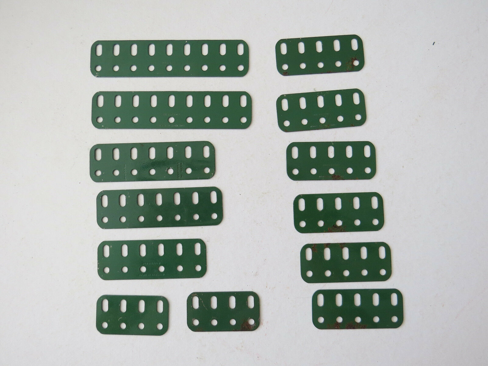 Meccano Flat Girders. 2  - 4.5  Various x 13. Medium Green Original Vintage