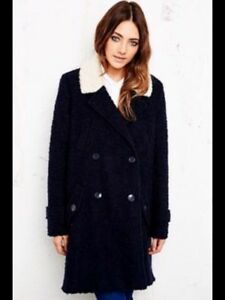 Coat Cooperative Faux Fur Outfitters L Collar Navy Blue 16 18 Urban Textured Sz thCdxQrs