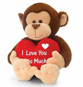 Image Is Loading KEEL TOYS Brown MONKEY With HEART I Love