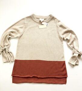 Skies-Are-Blue-Harvest-Tie-Sleeve-Hi-Low-Oversized-Sweater-Sz-XS-Tan-Orange