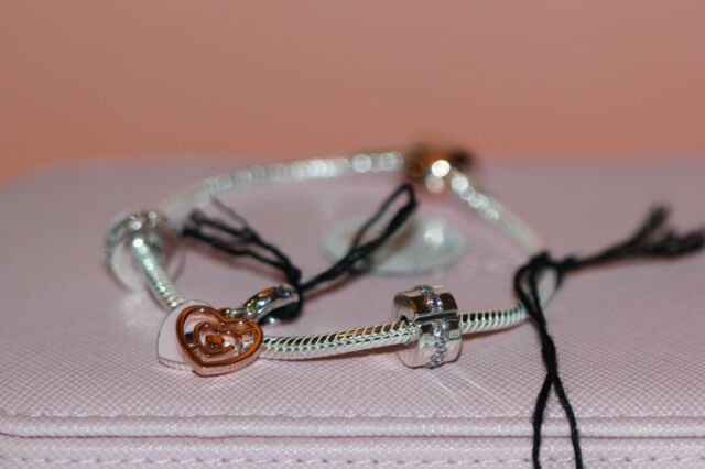 AUTHENTIC NEW PANDORA ROSE Fun In Love Gift Set, bracelet, 2 clips and  charm!