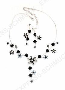 Blumen-Halskette-mit-Strass-in-Rosen-Blumen-Muster-Schwarz-Braut-Collier-Kette