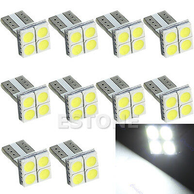 10x White T10 5050 4-SMD LED Car Auto Wedge Turn Signals Light Lamp Bulb
