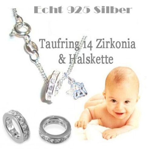 KETTE TAUFRING 14 ZIRKONIA ENGEL 925 SILBER SCHUTZENGEL TAUFSCHMUCK BABY NEU