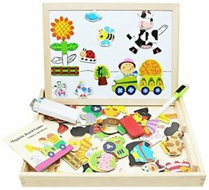 Lewo Wooden Kids Educational Toys Magnetic Easel Double ...