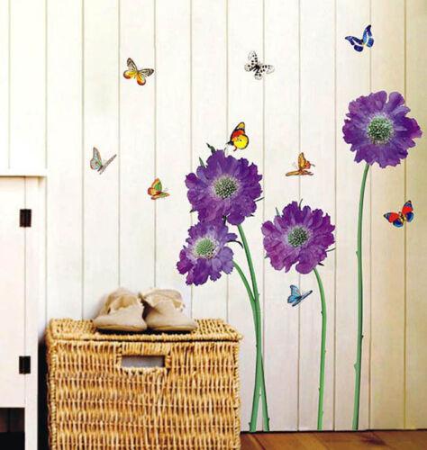 Purple Flower Vinyl Decal Wall Stickers art Mural Children Living Reusable