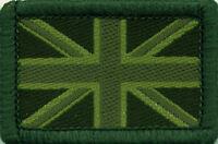 Union Jack UK British Flag Woven Badge Patch Green Tones 4 x 2.7cm