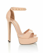 House Of CB Celeb Boutique Nude Tan Leather Peep Toe Heel Platform Lady Shoe 6 5