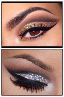 Holographic GOLD + SILVER Glitter Eyes + Fix Gel Long Lasting Eye Shadow