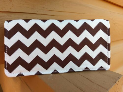 Handmade Fabric Checkbook Cover Brown Chevron   print fabric