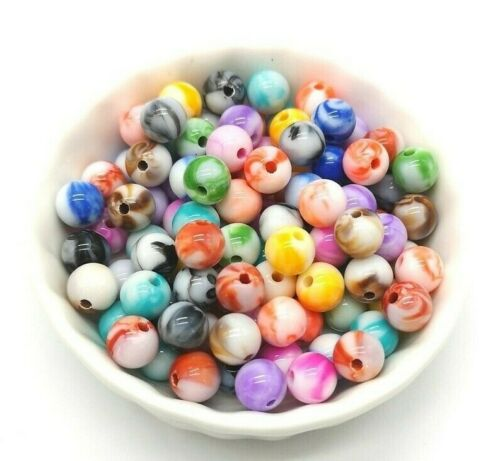 50 pcs 8 mm Round Acrylic Mixed Multicolor DIY Spacer Loose Beads Jewelry Making