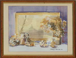 Anthony-Lawman-Signed-amp-Framed-1993-Watercolour-Window-Ledge-Still-Life