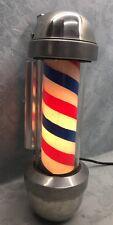 VINTAGE WORKING MARVY Glass Cylinder Barber Pole Light Sign Beauty Salon Shop