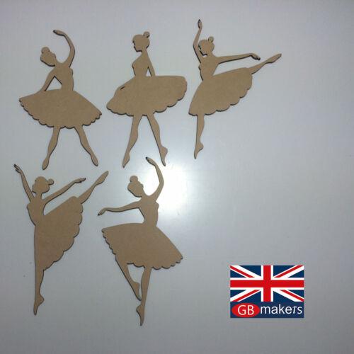 5 Ballet Dancers 3mm MDF Laser Cut Wooden Craft Blank Wholesale Dancing Dancer