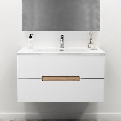 Mobiletto bagno bianco 80 cm con lavabo e cassetti design sospeso arredo  moderno | eBay
