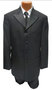 NEW-40-Regular-Black-4-Button-Peak-Frock-Coat-Theater-Costume-Riding-Halloween