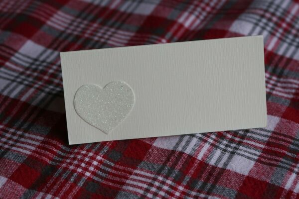 10 Avorio Nome Segnaposto Avorio Con Carta Glitter Cuore