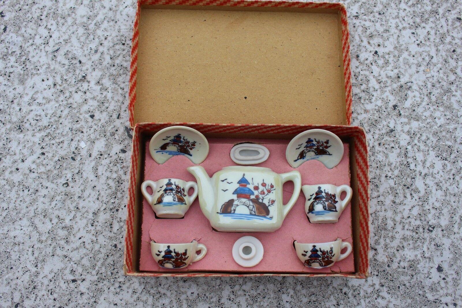 Juguete Antiguo de mediados de siglo Juego De Té De Porcelana Japonesa En Caja Auténtica