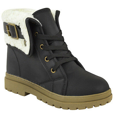 Ladies Ankle Boots Shoes Womens Flat Winter Snow Grip Sole Walking Biker Size