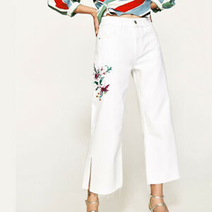 Zara-Cropped-Wide-Leg-Floral-Embroidered-Denim-Jeans-Size-2
