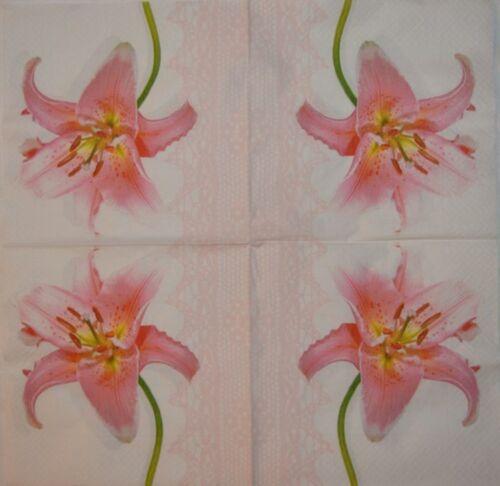 PAPER TABLE NAPKINS FOR CRAFT FLOWERS ORCHID VINTAGE DECOUPAGE TEA PARTIES 521