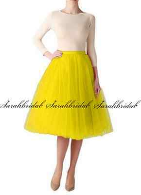 Women's Tutu A line Skirts Short Prom Party Knee Length Petticoat Dress Tulle