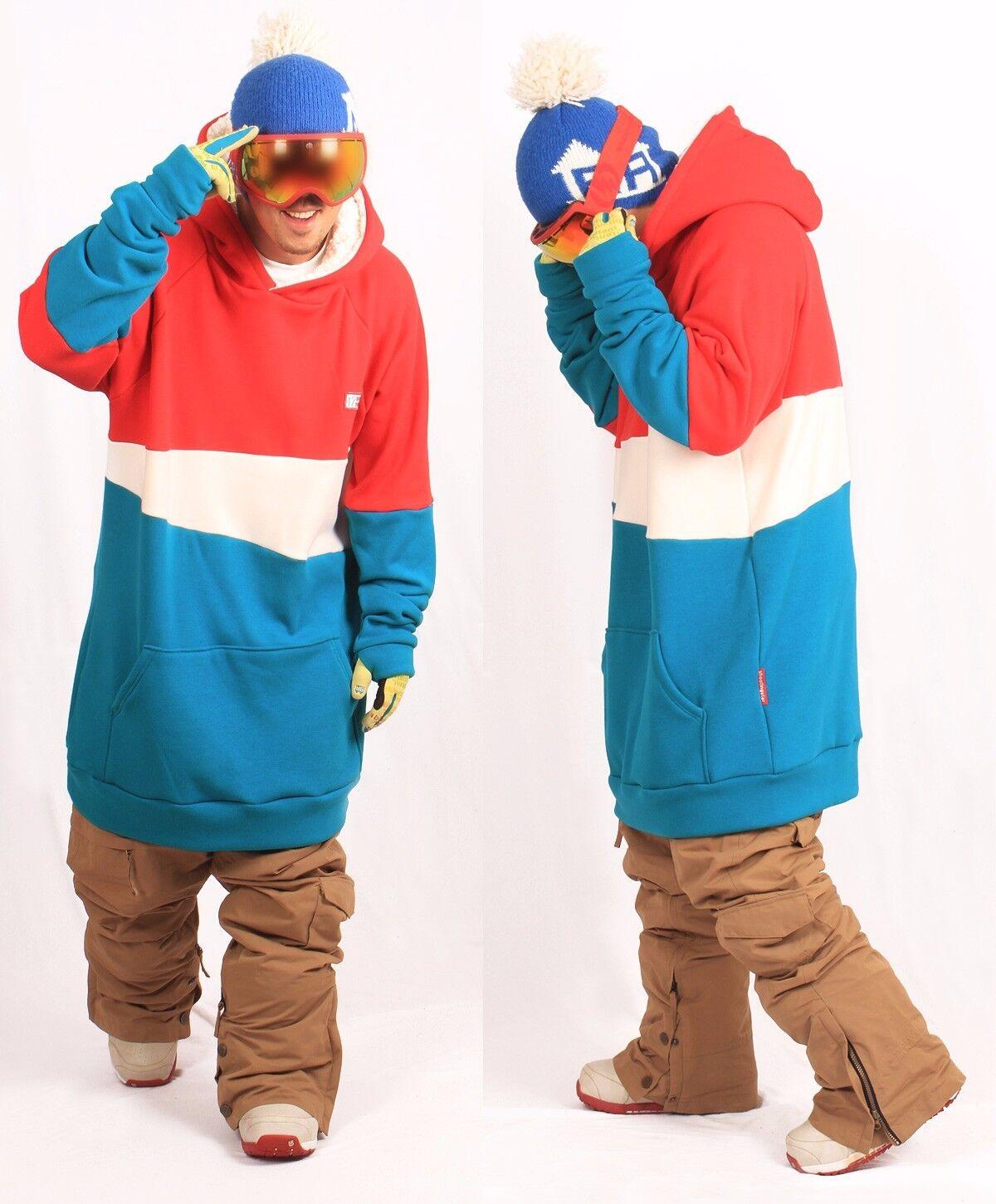 December long tall hoodie ski snowboard-MIX rot & AQUA Blau