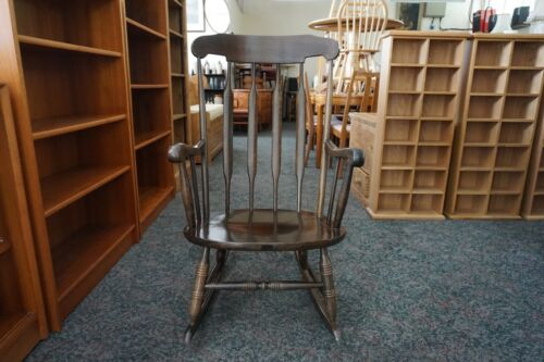 BEECH DARK OAK STAINED TRADITIONAL ROCKING CHAIR
