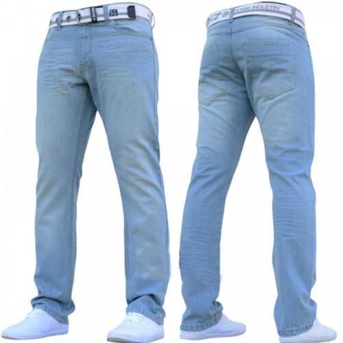 New Mens ENZO Blue Designer Denim Jeans Straight Fit Leg Belt All Waist Sizes