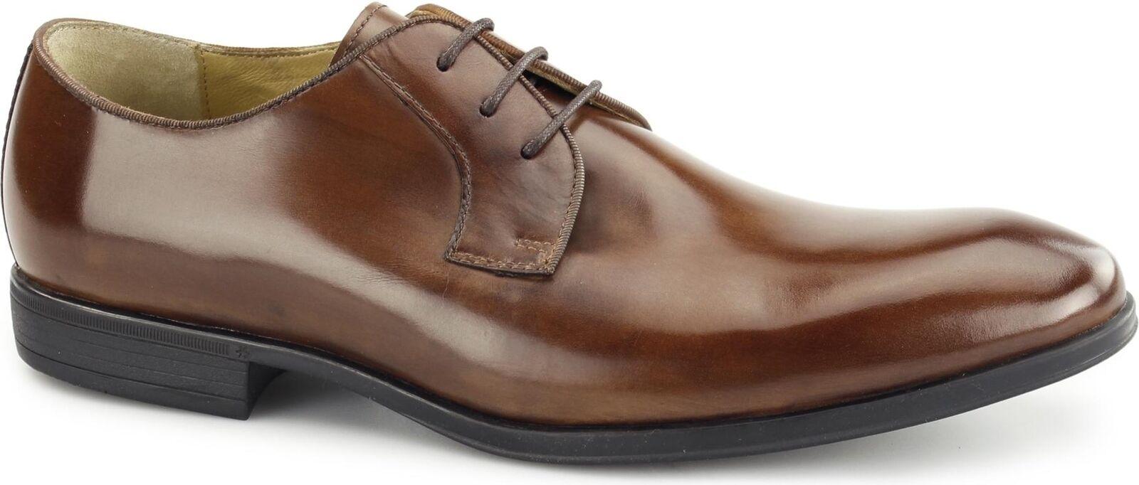 Steptronic Faro para hombre de cuero ceroso Inteligente Formal Zapatos Derby comodidad de oficina Coñac