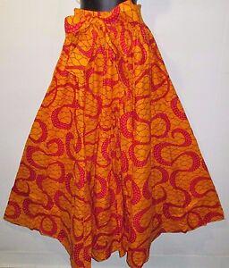 Pants-Fits-M-L-XL-1XL-XXL-African-Wax-Print-Ankara-Orange-Red-Wide-Leg-NWT-P061