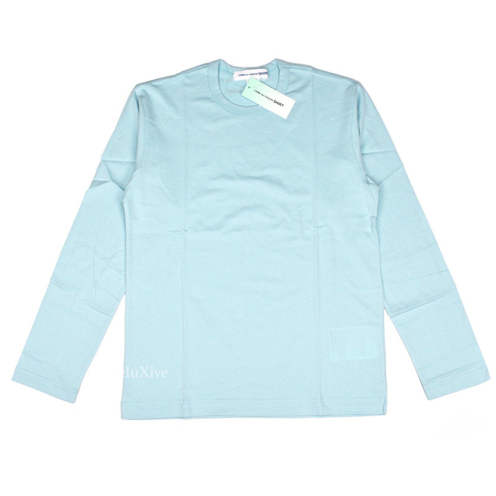 NWT  Comme des Garcons CDG Men's Light bluee Cotton Logo LS T-Shirt AUTHENTIC