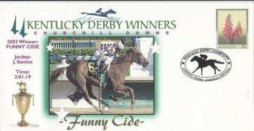 Stamp Australia pse Kentucky Derby Winners USA horse race cover 2003 Funny Cide