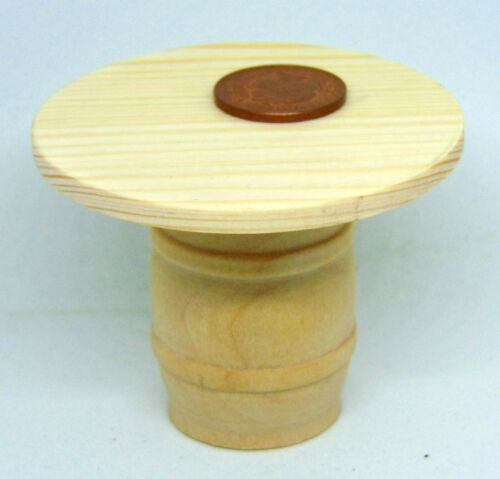 1:12 Scale Natural Finish 5.9cm Diameter Wooden Barrel Table Tumdee Dolls House