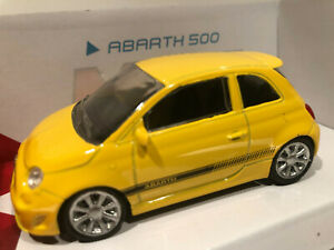 1-43-Voiture-Miniature-Fiat-Abarth-500-Jaune-Metal-Collection-Neuf