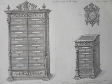 Cartonnier Pupitre Horloge GRAVURE le MAGASIN de MEUBLES Victor QUETIN XIXéme
