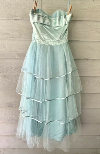 Vintage 50s Strapless Tiered Tulle Satin Prom Cupc