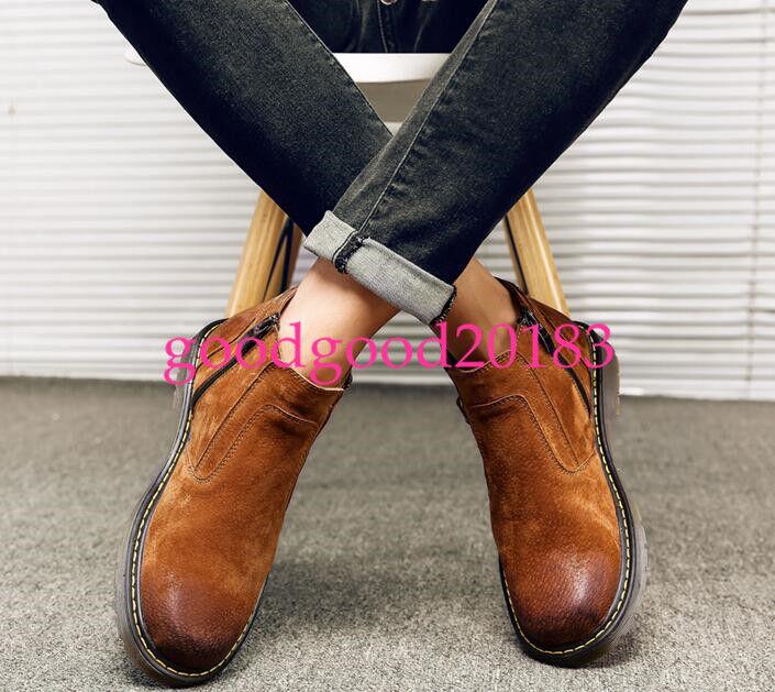 Inglaterra Para Hombre Slip On altos hasta el tobillo botas de combate Vogue Punta rojoonda Zapatos para Nieve Caliente