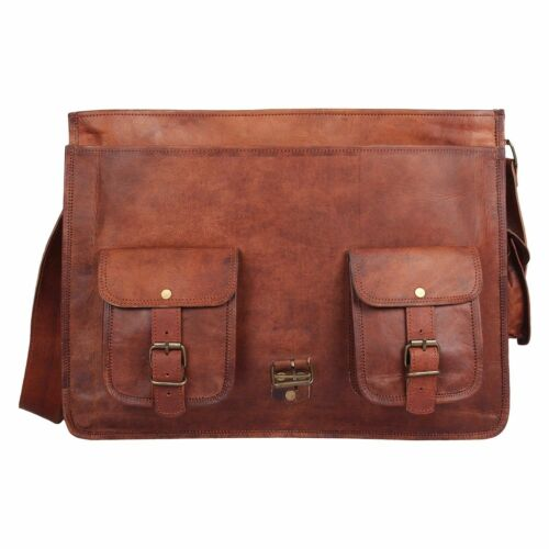 "16/""Vintage Genuine Leather Laptop Briefcase messenger satchel bag Shoulder Brown"