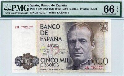 SPAIN 5000 5,000 Pesetas 1979 P-160 King Juan Carlos I UNC Uncirculated