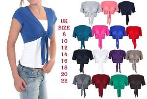 Ladies Plain Tie Up Front Bolero Shrug Womens Short Sleeve Casual Crop Cardigan
