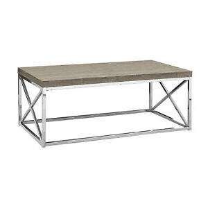 Monarch Dark Taupe Wood-Look Finish Chrome Metal Contemporary Style Coffee Table