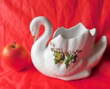White ceramic swan indoor plant pot holder wild flower design bird planter